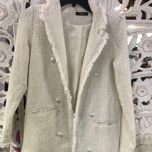 SHEINFrayed Trim Longline Tweed Blazer